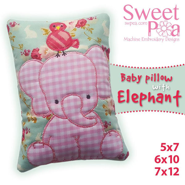 Baby Pillow with Elephant 5x7 6x10 7x12 - Sweet Pea In The Hoop Machine Embroidery Design