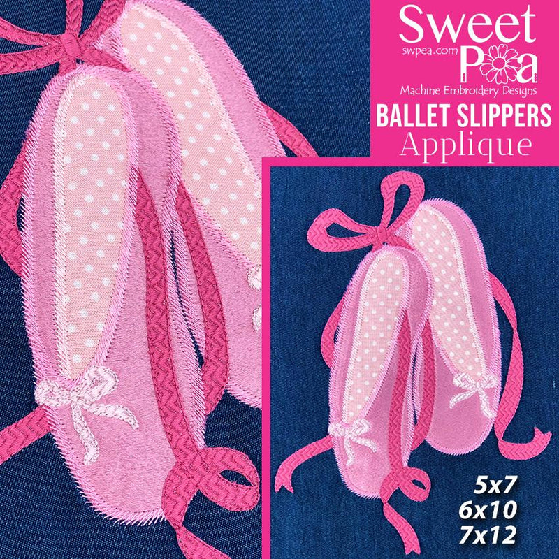 Ballet Slippers Applique Design 5x7 6x10 7x12 - Sweet Pea In The Hoop Machine Embroidery Design