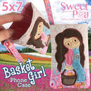 Basket Girl Phone Case 5x7 - Sweet Pea In The Hoop Machine Embroidery Design