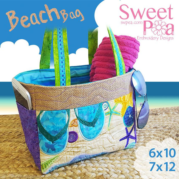 Beach Bag 6x10 7x12 - Sweet Pea In The Hoop Machine Embroidery Design