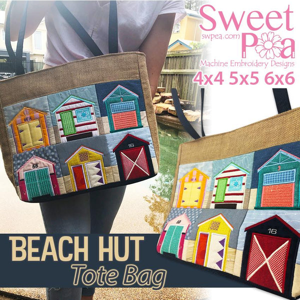 Beach Hut Tote Bag 4x4 5x5 6x6 - Sweet Pea In The Hoop Machine Embroidery Design