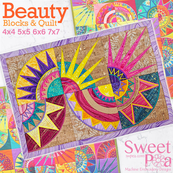 Beauty Block and Quilt 5x5 6x6 7x7