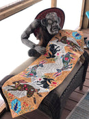 Folk Art Rabbit Table Runner or Flag 4x4 5x5 6x6 and 7x7