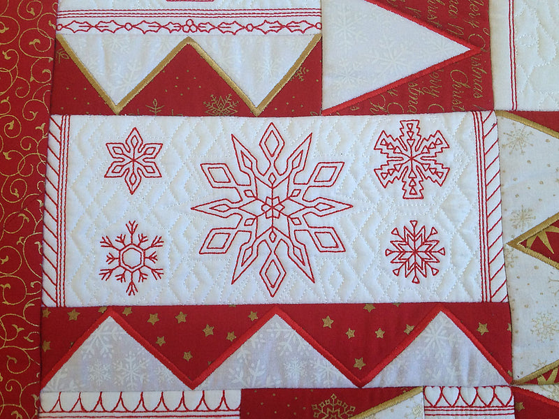 Emma's Christmas Redwork Quilt 6x10 - Sweet Pea In The Hoop Machine Embroidery Design