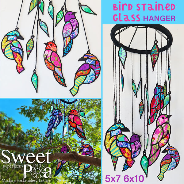 Bird Stained Glass Hanger 5x7 6x10