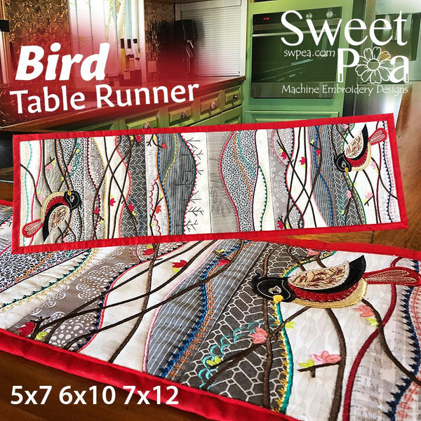 Bird Table Runner 5x7 6x10 and 7x12 - Sweet Pea In The Hoop Machine Embroidery Design