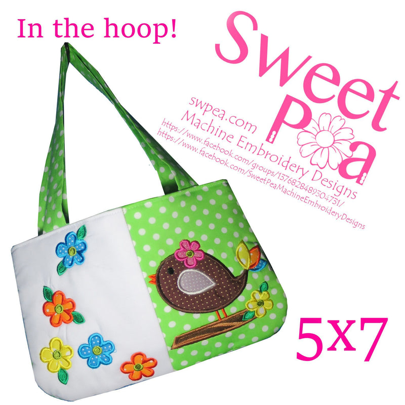 Bird Bag 5x7 - Sweet Pea In The Hoop Machine Embroidery Design