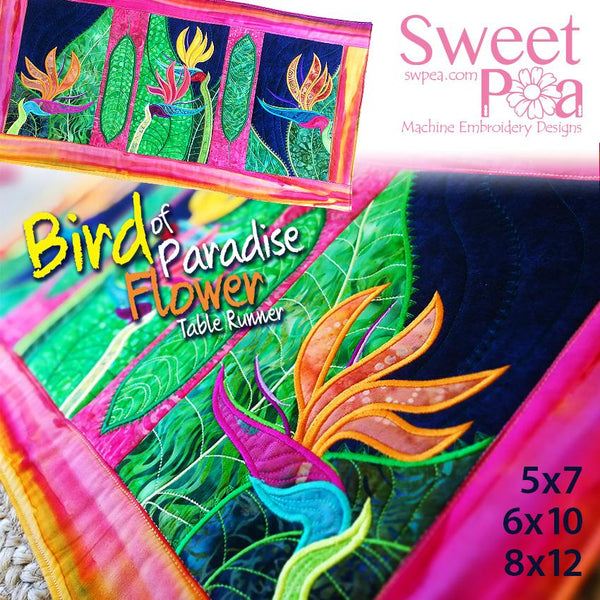 Bird of Paradise Flower table runner 5x7 6x10 8x12 - Sweet Pea In The Hoop Machine Embroidery Design