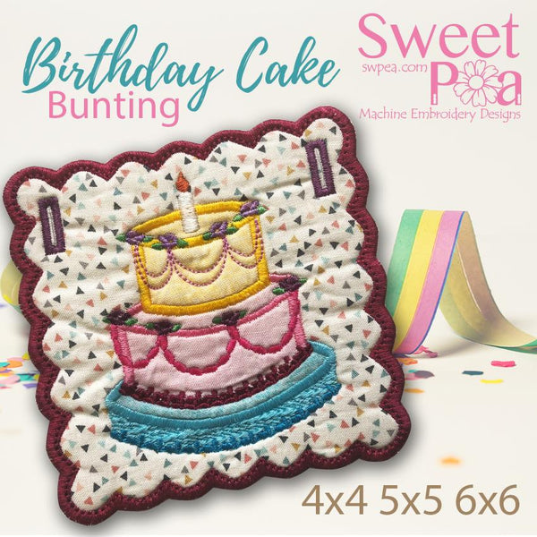 Birthday Cake Bunting add on 4x4 5x5 6x6 - Sweet Pea In The Hoop Machine Embroidery Design
