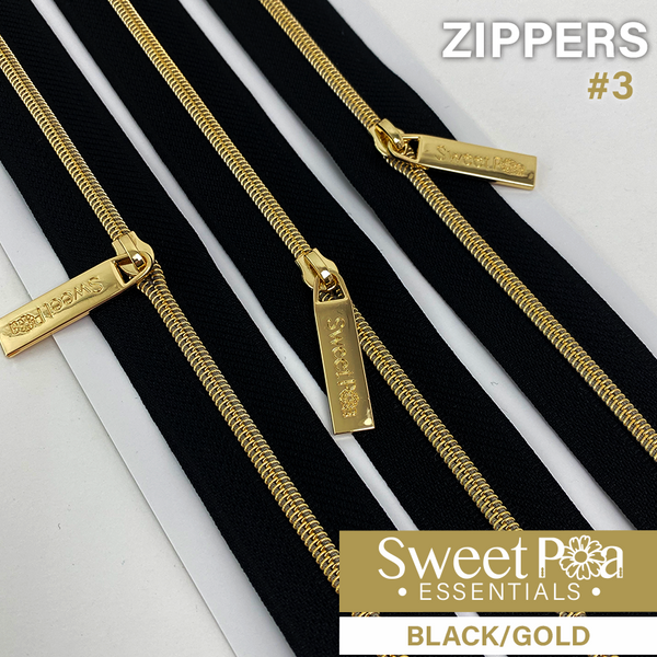 Sweet Pea #3 Zippers - BLACK/GOLD