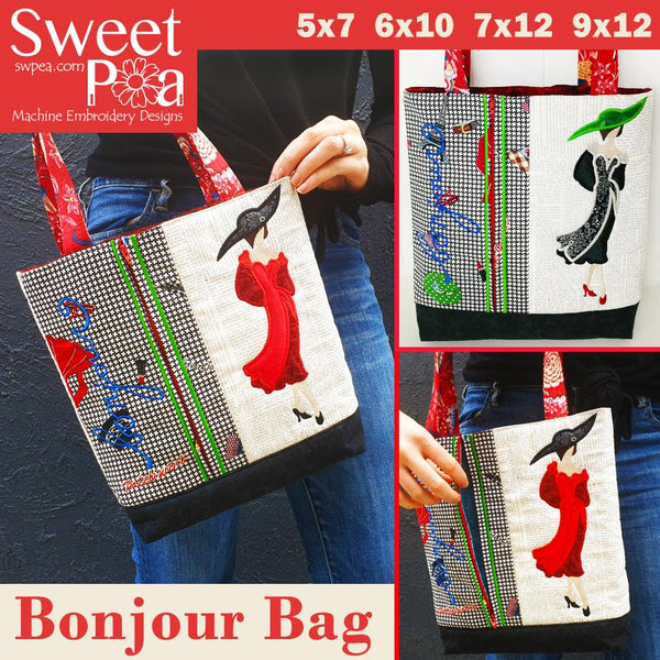 Bonjour bag 5x7 6x10 7x12 and 9x12 - Sweet Pea In The Hoop Machine Embroidery Design