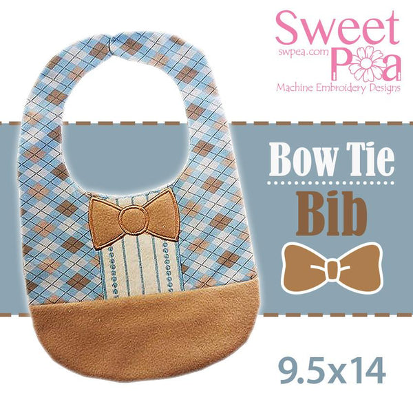 Bow tie bib 9.5x14 - Sweet Pea In The Hoop Machine Embroidery Design