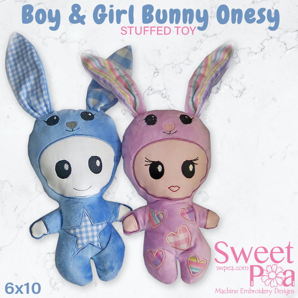 Boy and girl bunny onesy stuffed toy doll 6x10