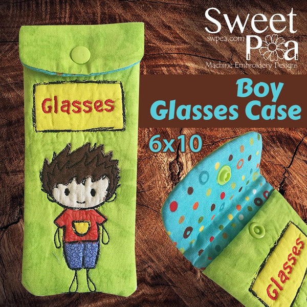 Boy glasses case 6x10 - Sweet Pea In The Hoop Machine Embroidery Design