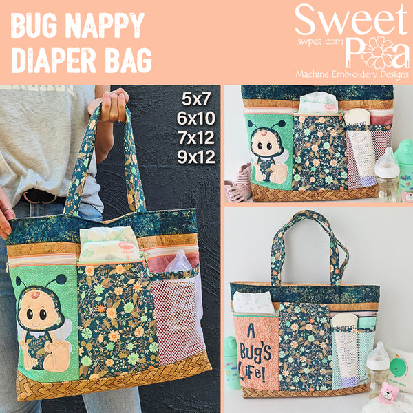 Bug Nappy Diaper bag 5x7 6x10 7x12 and 9x12