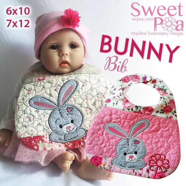 Bunny Bib 6x10 and 7x12 - Sweet Pea In The Hoop Machine Embroidery Design