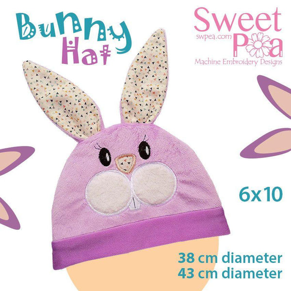 Bunny baby hat ITH in the 6x10 hoop - Sweet Pea In The Hoop Machine Embroidery Design