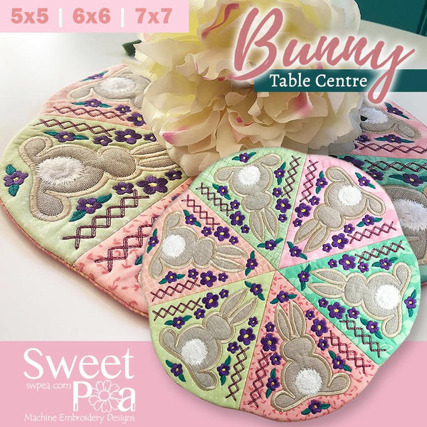 Bunny table centre 5x5 6x6 7x7 - Sweet Pea In The Hoop Machine Embroidery Design