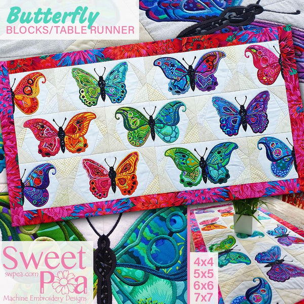 Butterfly Blocks and Table Runner 4x4 5x5 6x6 and 7x7 - Sweet Pea In The Hoop Machine Embroidery Design