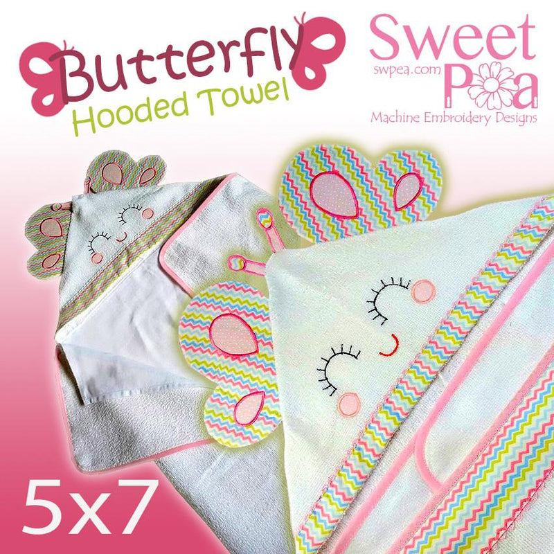 Butterfly hooded towel5x7 - Sweet Pea In The Hoop Machine Embroidery Design