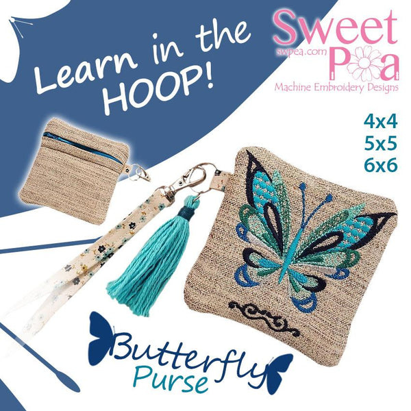 Butterfly Zipper Purse  4x4 5x5 6x6 - Sweet Pea In The Hoop Machine Embroidery Design