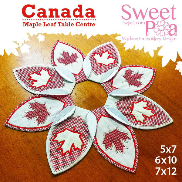Canada maple leaf table centre 5x7 6x10 7x12 - Sweet Pea In The Hoop Machine Embroidery Design