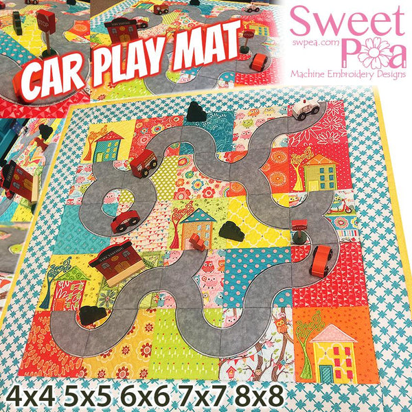 Car Play Mat Quilt 4x4 5x5 6x6 7x7 8x8 - Sweet Pea In The Hoop Machine Embroidery Design