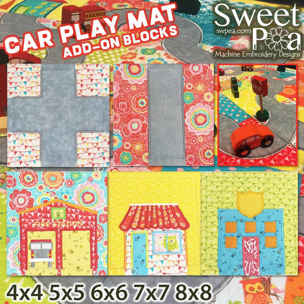 Car Play Mat Add-On Blocks 4x4 5x5 6x6 7x7 8x8 - Sweet Pea In The Hoop Machine Embroidery Design
