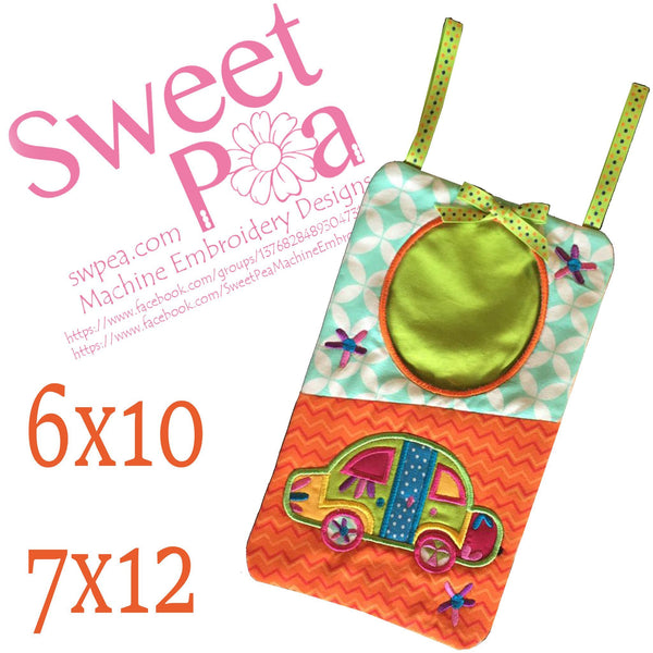 Car trash bag in the hoop 6x10 and 7x12 - Sweet Pea In The Hoop Machine Embroidery Design