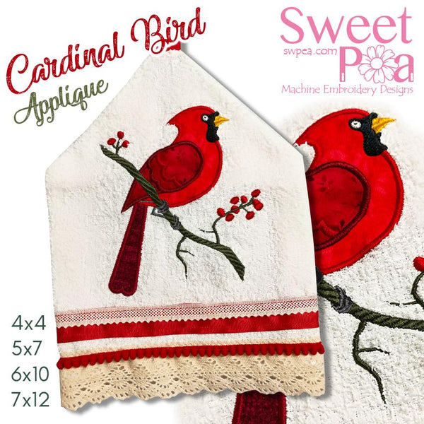 Cardinal Bird Applique 4x4 5x7 6x10 7x12 - Sweet Pea In The Hoop Machine Embroidery Design