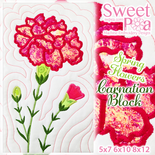 Carnation Flower Block Add-on 5x7 6x10 8x12