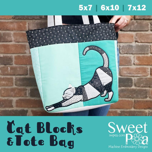 Cat Blocks and Tote bag 5x7 6x10 7x12 - Sweet Pea In The Hoop Machine Embroidery Design