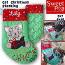 Cat Christmas Stocking 5x7 6x10 7x12 - Sweet Pea In The Hoop Machine Embroidery Design