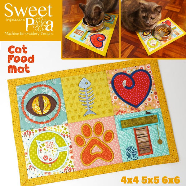 Cat Food Mat 4x4 5x5 6x6 - Sweet Pea In The Hoop Machine Embroidery Design