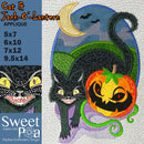 Cat and Jack-O'-Lantern applique design 5x7 6x10 7x12 and 9.5x14 - Sweet Pea In The Hoop Machine Embroidery Design