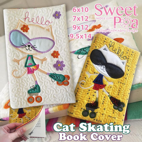 Cat Skating book cover 6x10 7x12 and 9.5x14 - Sweet Pea In The Hoop Machine Embroidery Design