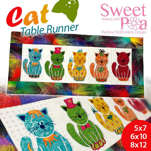 Cat table runner 5x7 6x10 8x12 - Sweet Pea In The Hoop Machine Embroidery Design