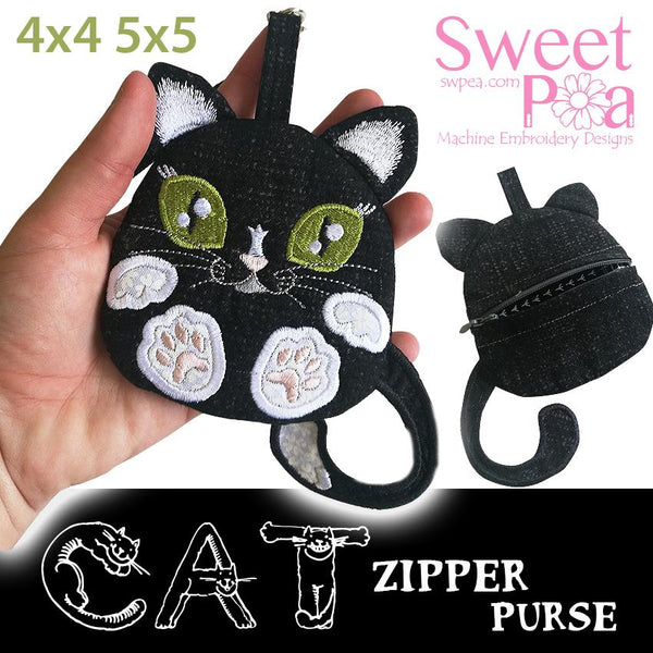 Cat Zipper Purse 4x4 5x5 - Sweet Pea In The Hoop Machine Embroidery Design