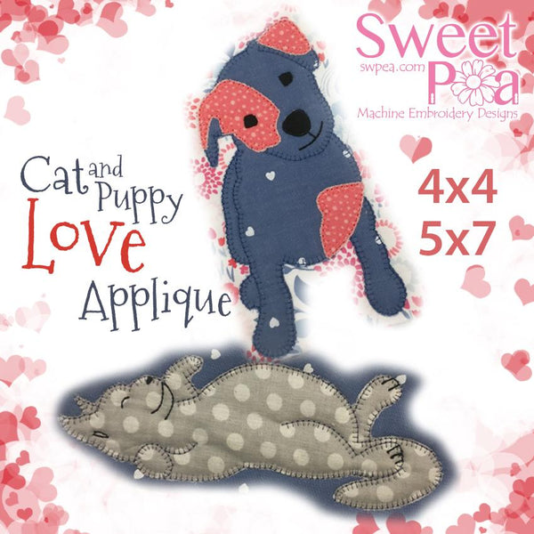 Cat and puppy love applique designs 4x4 and 5x7 - Sweet Pea In The Hoop Machine Embroidery Design