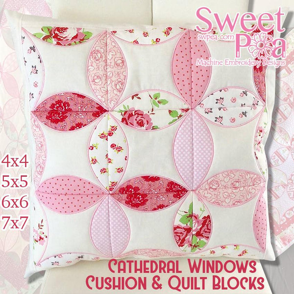 Cathedral windows cushion and quilt block 4x4 5x5 6x6 7x7 - Sweet Pea In The Hoop Machine Embroidery Design