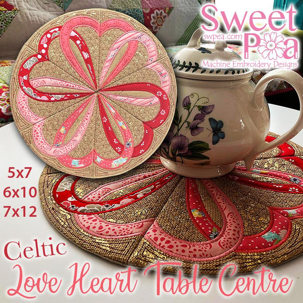 Celtic Love Heart Table Centre 5x7 6x10 7x12 - Sweet Pea In The Hoop Machine Embroidery Design