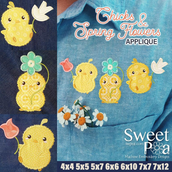 Chicks & Spring Flowers applique design 4x4 5x5 5x7 6x6 6x10 7x7 7x12 - Sweet Pea In The Hoop Machine Embroidery Design