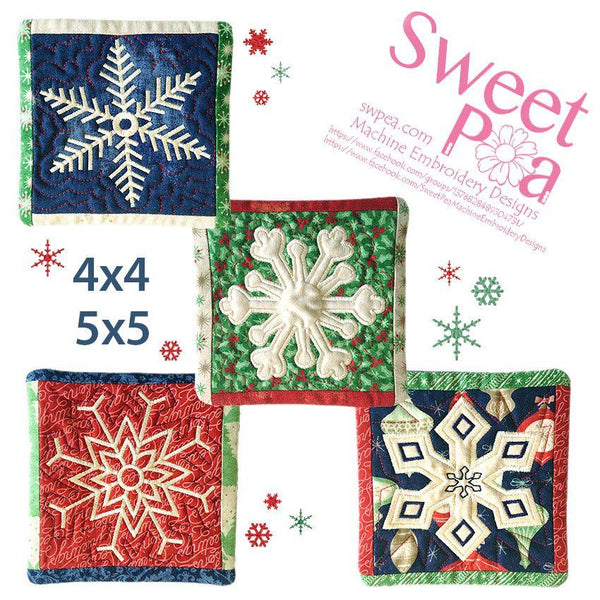 Snowflake Coasters 4x4 5x5 - Sweet Pea In The Hoop Machine Embroidery Design