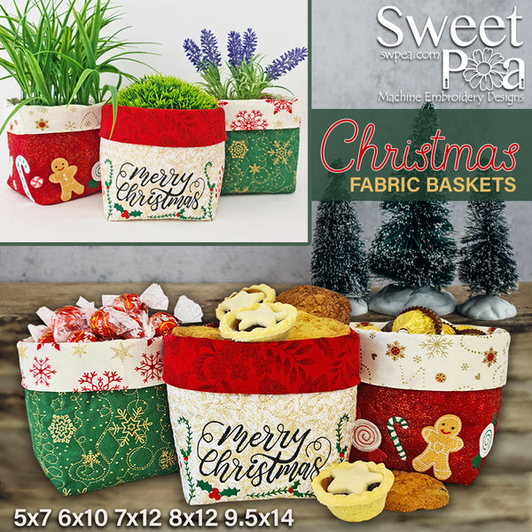 Christmas Fabric Baskets 5x7 6x10 7x12 8x12 9.5x14