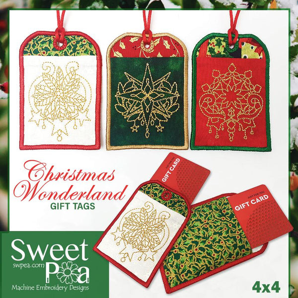 Christmas Wonderland  Gift Tags 4x4 - Sweet Pea In The Hoop Machine Embroidery Design