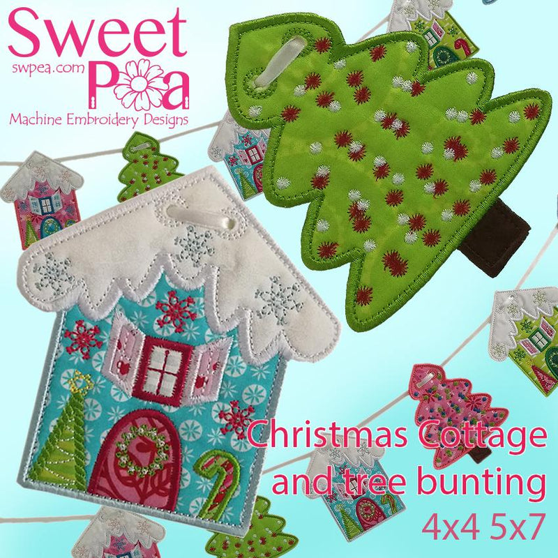 Christmas cottage and tree bunting 4x4 and 5x7 - Sweet Pea In The Hoop Machine Embroidery Design