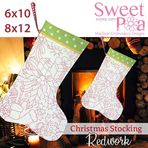 Christmas redwork stocking 6x10 8x12 - Sweet Pea In The Hoop Machine Embroidery Design