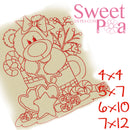 Redwork Christmas Bear Treats 4x4, 5x7, 6x10, 7x12 - Sweet Pea In The Hoop Machine Embroidery Design