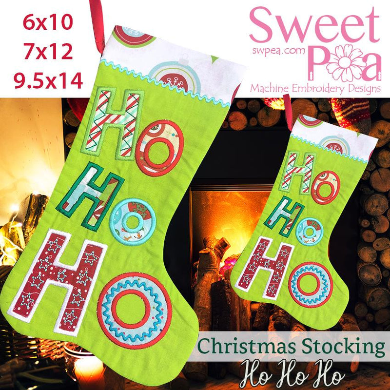 Christmas stocking ho ho ho 6x10 7x12 and 9.5x14 - Sweet Pea In The Hoop Machine Embroidery Design