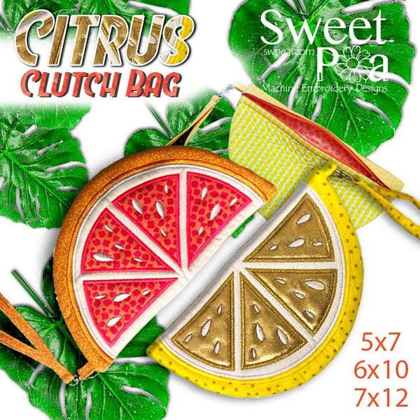 Citrus Zippered Clutch Bag 5x7 6x10 7x12 - Sweet Pea In The Hoop Machine Embroidery Design